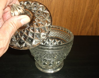 Vintage Glass Candy Dish, Cut Glass Extremely Ornate, Heavy Glass, Probably Leaded, Covered Demi Bowl For Nuts, Mints, Candy, Tea Bags,