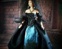 OOAK Halloween Witch Doll Salem Inspired Repaint Barbie Doll Figure Gothic Can Be Seen On Youtube