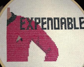 Star Trek red shirt finished cross stitch ornament, wall hanging, home decor, sci fi television, geek,uniform, shirt, trekkie, red shirt