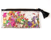 Rainbow Sequin and Glitter Plastic Pencil & Mini Make Up Case