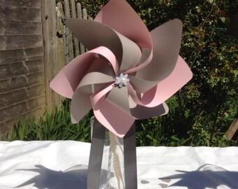 Flower girl wand spinning pinwheel