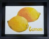 Painting-OIl on board-Lemon Art-Yellow Art-Fruit Art-Kitchen Art-Original Art