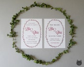 PINK Floral Wreath Wedding Invitation and Save the Date- Forest Blooms