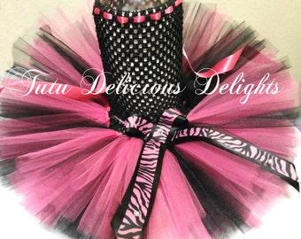 Hot Pink and Black Zebra Tutu Dress, Kids Birthday Tutus, Pageant Dress, Tutu Dresses, Kids Photo Props