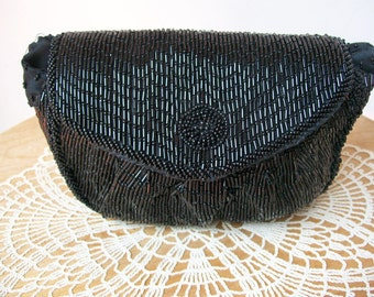 Walborg BLACK BEADED CLUTCH Small Purse Bag Vintage Glass Beads Straw Seed Evening