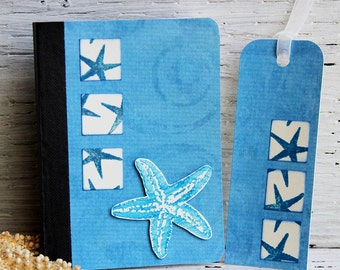 Blue Starfish Mini Journal with Matching Bookmark, Handmade Pocket Notebook, Altered Composition Book, Personal Diary, Vacation Planner