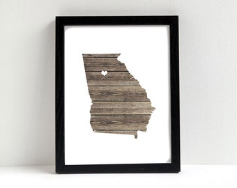 Georgia or ANY STATE Natural Art Print - State Art Print - Home Sweet Home - Custom Personalized Heart Print Hometown Wall Art Gift Souvenir