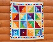 Handmade Rainbow Log Cabin Baby Quilt