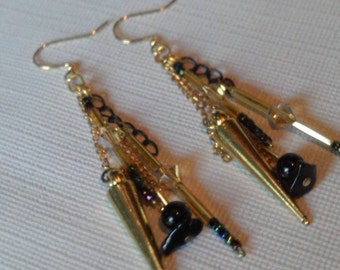 Multi Chain Brass, Black and Gold Dangle Earrings, Long Boho Chic Black and Gold Varied lengths Earrings, Spring Glam Dangling Earrings Sale