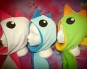 Monster Hood Fleece Scoodie Spirit Hood Dragon Lizard Dinosaur Kawaii Hat Scarf OOAK CUSTOM