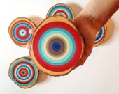Painted Tree Rings, Abstract Art, Wood Slice, Wall Art, Original Painting, Gift Idea, Reclaimed Wood, Rustic Wall Decor