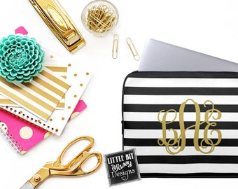 Stripes Laptop Macbook Computer Sleeve Monogram Black White Gold Cover Notebook Personalized Monogrammed