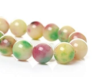 SALE 33 Mashan Jade Beads - 12mm - Multicolor - 1 Strand - Ships IMMEDIATELY from California - B1190