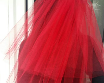 Bachelorette party Veil 2-tier red, middle length. Bride veil, accessory, bachelorette veil.