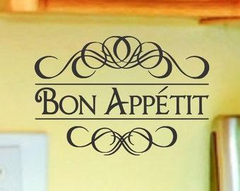 Kitchen Wall Decor Bon Appetit Wall Decal Dining Room Vinyl Lettering Decor Kitchen Backsplash Sticker Quote Decorations