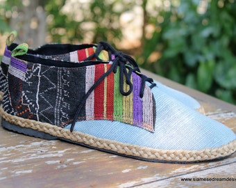 Men's Shoes Vegan Oxfords In Colorful Laos Tribal Embroidery  &  Natural Hemp 8 - Alex