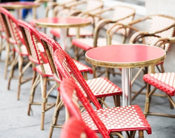 Paris Photography - Red Cafe Chairs, Classic Paris, Sidewalk Cafe, Large Wall Art, Home Decor, French Kitchen Art