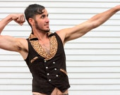 LIMITED EDITION Mens Dapper Double breasted pinstripe vest with leopard print