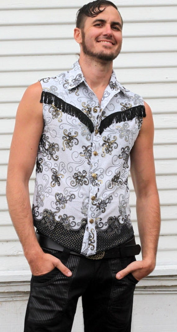 Mens Black white and gold sleeveless collared shirt with