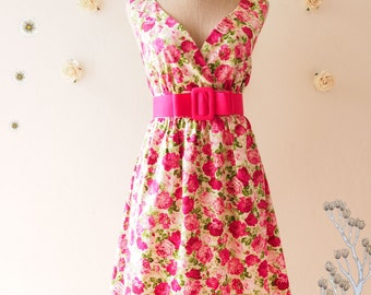 SALE- My Romantic Pink Floral Dress Vintage Inspired Dress Floral Tea Dress Floral Bridesmaid Dress Pink Floral Dress Rose Dress -Size S-M