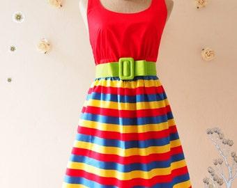 SALE Red Summer Dress Colorful Dress Vintage Retro Dress Red Sundress Tea Dress Bridesmaid Dress Stripe Mod Dress Beach Party Dress - XS