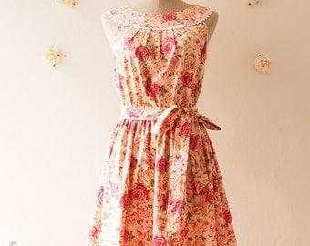 Rustic Wedding Floral Bridesmaid Dress Sun Dress Summer Dress Floral Dress Floral Prom Dress Coral Party Dress- xs-xl, Custom