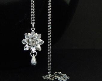Silver Lotus Waterlily Teardrop Necklace