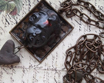 Black Raku Clay Baby Cameo on Chocolate Oxidized Square Frame with Text Background & Handmade Clay Heart
