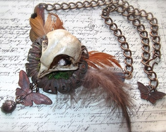 Rusty Brass Patina Owl with Feathers and Large Vintage Chain, Butterfly & Ladybug Drop