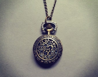 Vintage Inspired Starry Sky Working Quartz Pocket Watch Pendant Necklace
