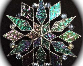 stained glass snowflake suncatcher (design 14)