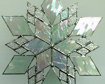 stained glass snowflake suncatcher  (design 15C)