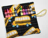 Crayon Rolls Party Favors Wheels on the Bus, Schoolbus, holds 10 Crayons, Big Yellow Bus Birthday Party Crayon Roll Favors