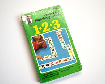Vintage Number Matching Game, Rainbow Works Preschool Matching Cards, Vintage 1980 Educational Game 75841, Kids Card Game, Stocking Stuffer