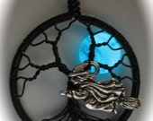 Flying Witch and the Glowing Blue Moon Tree of Life,  Night Glow Jewelry, Halloween Glowing Moon