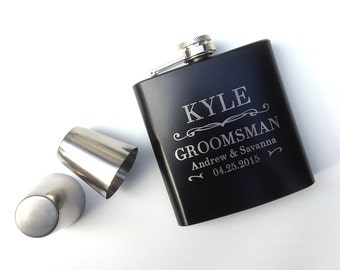 Groomsmen Gift, Engraved Hip Flask, Wedding gift, Best Mans Gift, Bridal Party, Wedding Party Gift, Personalized Flask