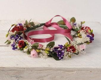 Rustic Wedding Crown, Spring Flower Crown, Wedding Flower Headband, Bridal Floral Halo, Woodland Hair Wreath, Whimsical Country Hair Piece