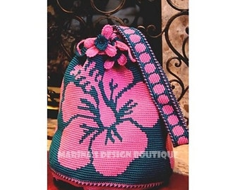 Hibiscus - Shoulder Drawstring Bag  PDF Crochet Pattern
