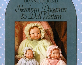 """Doll Pattern /Premie Pattern / Smocked Daygown /  Bye-Lo Doll Babies / Bonnet Pattern / for 11"""", 15"""" and 18"""" Dolls and Premature Infants"""