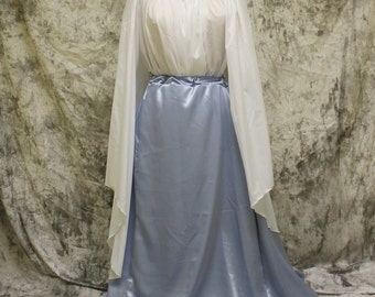 Light Blue Renaissance Costume-Halloween Costume-Medieval Skirt-LARP-Ren Fair-Steampunk-SCA-Adult Costume-Fantasy Skirt-Item #152