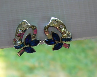Vintage Rhinestone Clip Earrings - Blue Leaves and Clear Starbursts on Gold Tone Ribbon (J-15-441)