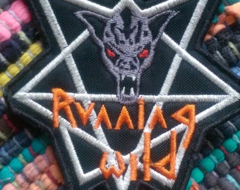"""Embroidered RUNNING WILD Logo Patch [4"""" W x 4"""" L]"""