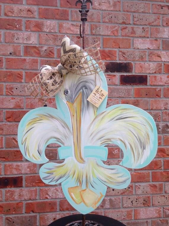 Wooden Pelican Fleur De Lis Door Hanger