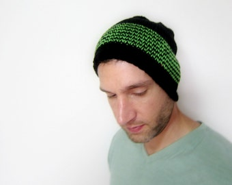 Slouchy Beanie Mens Knit Hat Black Womens Cap Etsy Accessories Crochet Gifts Autumn Fashion Gift Ideas Guys Green Accessory Handmade Striped