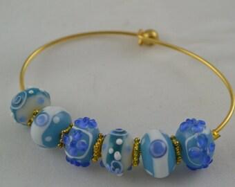 Bangle Bracelet Lampwork Beaded