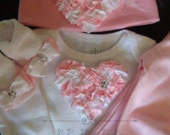 NEWBORN Baby Girl Take Me Home Outfit complete with pink heart bodysuit, matching pants, hat and socks Now Available in PREEMIE