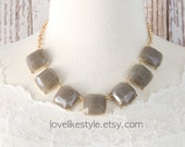 Gray Curved Square Stone Gold Chain Statement Necklace , Bib Necklace, Bridesmaid Necklace, Gray Bib Necklace