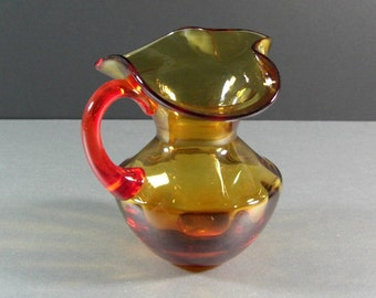 Vintage Amberina Glass Pitcher Creamer / Revolutionary Hat Opening