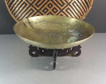 Antique Brass Dragon Bowl on Hand Carved Stand / Old China