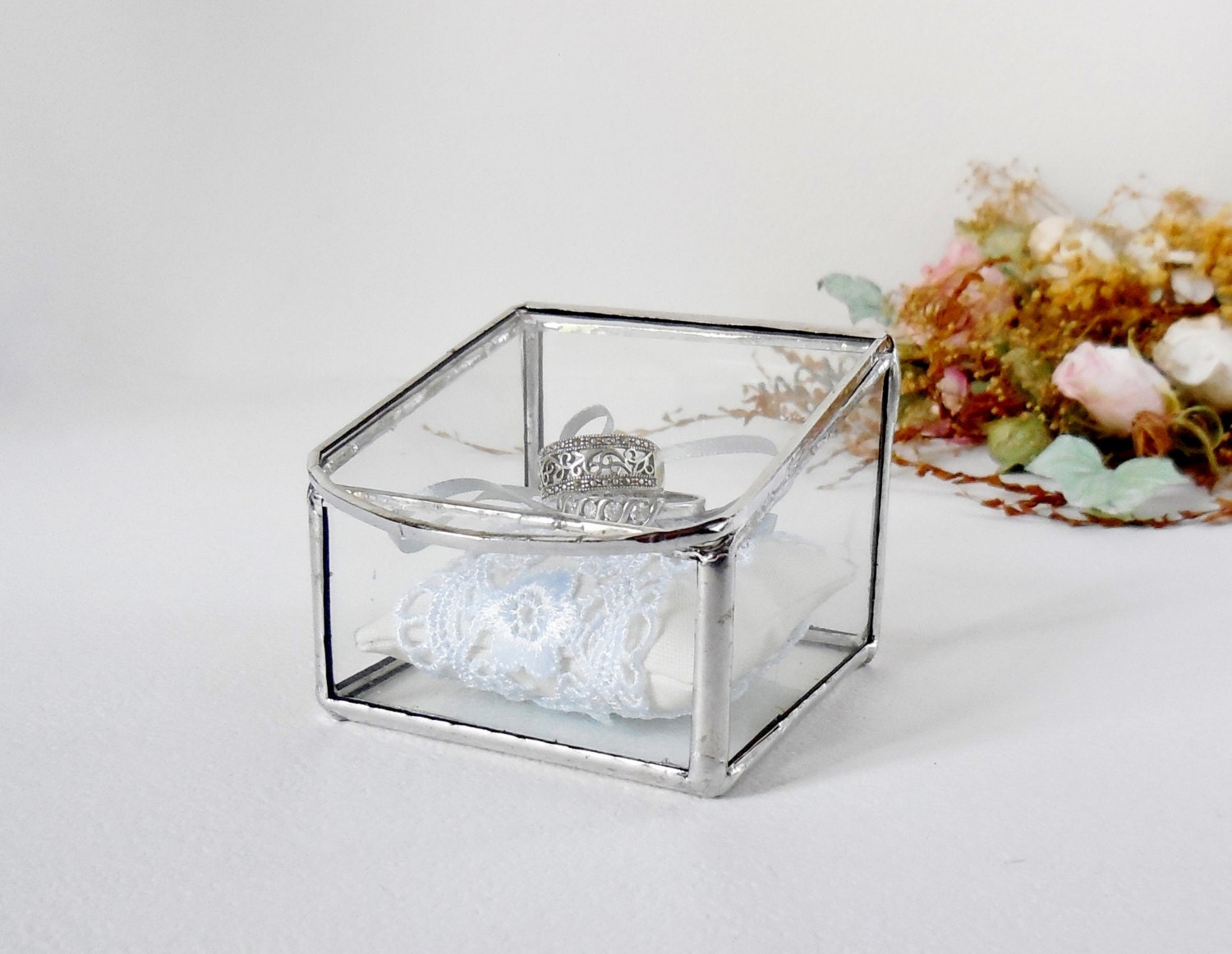 glass box wedding ring box clear glass ring bearer glass
